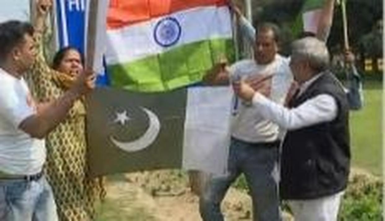 WATCH: FROM SHOES BEING THROWN TO FLAG BEING BURNT, HERE ARE THE SCENES FROM THE PROTEST AGAINST PAKISTAN AT THE PAK HIGH COMMISSION IN DELHI