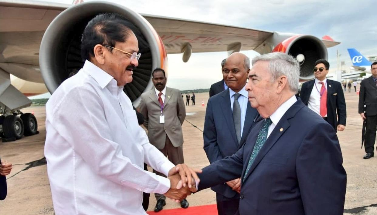 VENKAIAH NAIDU ARRIVES AT PARAGUAY, FIRST INDIAN VICE PRESIDENT TO VISIT THE LATIN AMERICAN COUNTRY