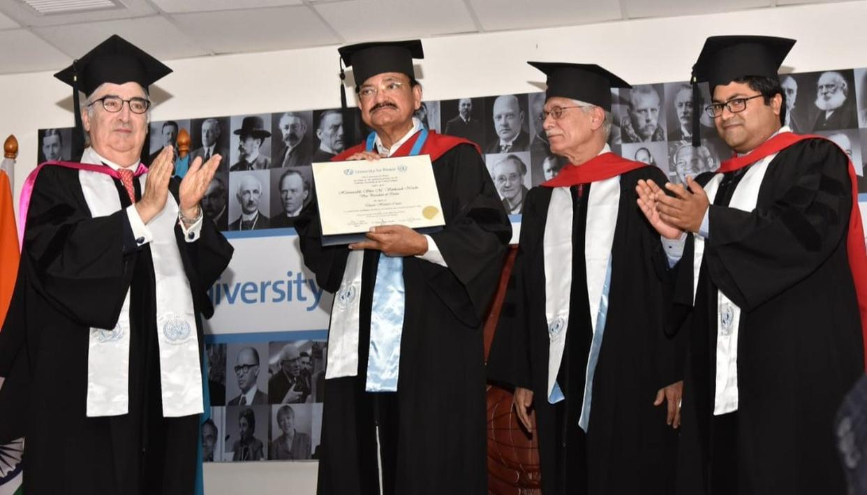 UN-FOUNDED UNIVERSITY FOR PEACE CONFERS HONORARY DOCTORATE ON VICE PRESIDENT NAIDU