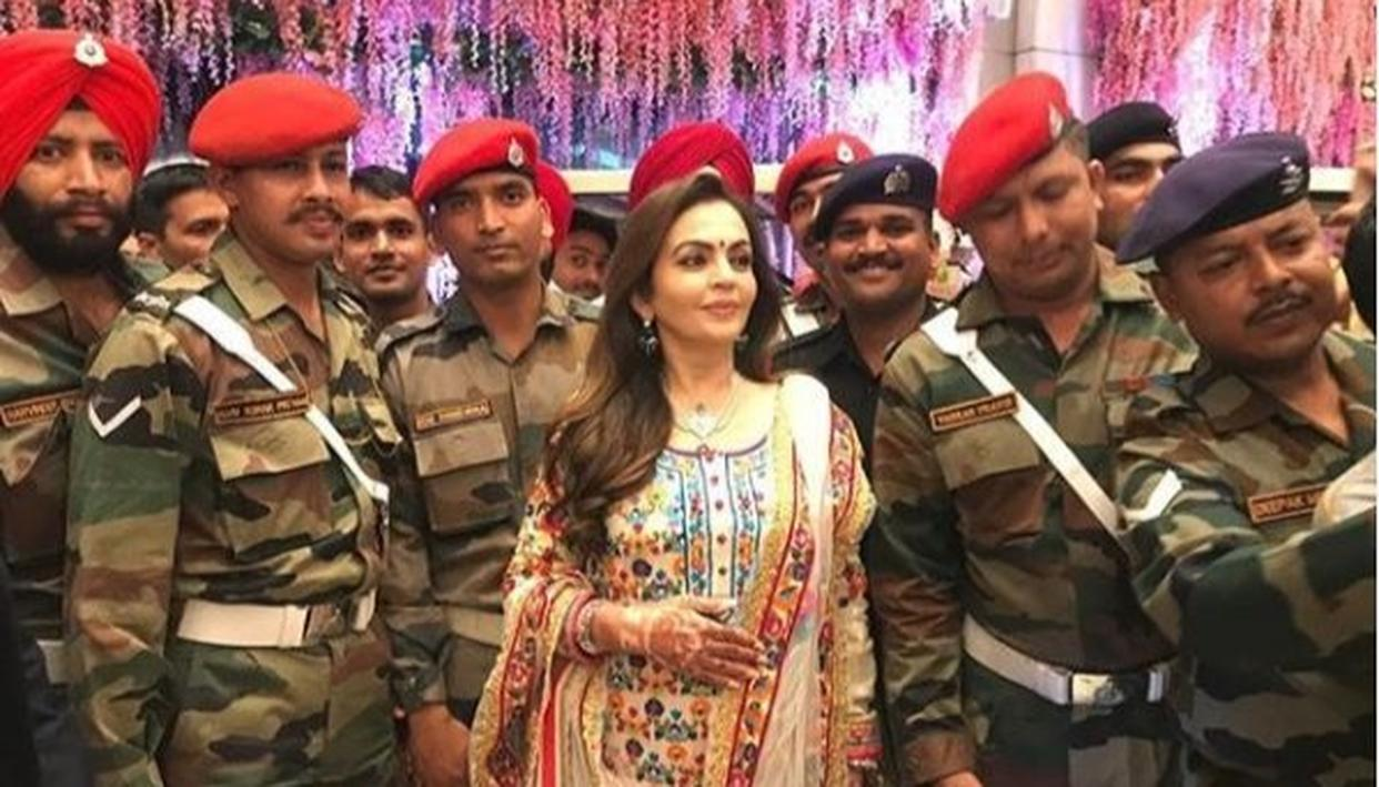 WATCH | 'WE OWE A GREAT DEBT TO EACH ONE OF YOU': NITA AMBANI PROMISES SUPPORT TO THE FAMILIES OF JAWANS AT A RECEPTION ORGANISED FOR THE ARMED FORCES ON THE OCCASION OF HER SON AKASH AMBANI'S WEDDING WITH SHLOKA MEHTA