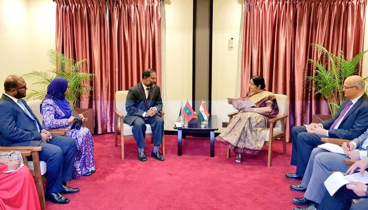 """MALDIVES REAFFIRMS """"INDIA-FIRST POLICY"""", SAYS """"WILL REMAIN SENSITIVE TOWARDS ITS SECURITY AND STRATEGIC CONCERNS"""" AS EAM SUSHMA SWARAJ HOLDS TALK WITH TOP LEADERSHIP"""
