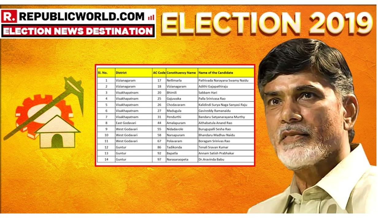 TDP RELEASES FINAL LIST OF CANDIDATES OF STATE AND NATIONAL POLLS