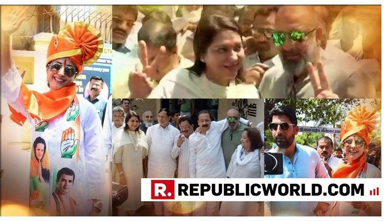 IN PICS | SANJAY DUTT JOINS PRIYA DUTT, URMILA MATONDKAR ACCOMPANIED BY HUSBAND AS THE CONGRESS LEADERS FILE NOMINATIONS FOR LOK SABHA ELECTIONS