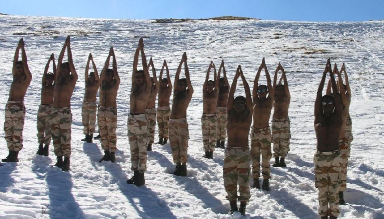 WATCH: ITBP'S YOGA TRAINING ON A FROZEN WATERBODY