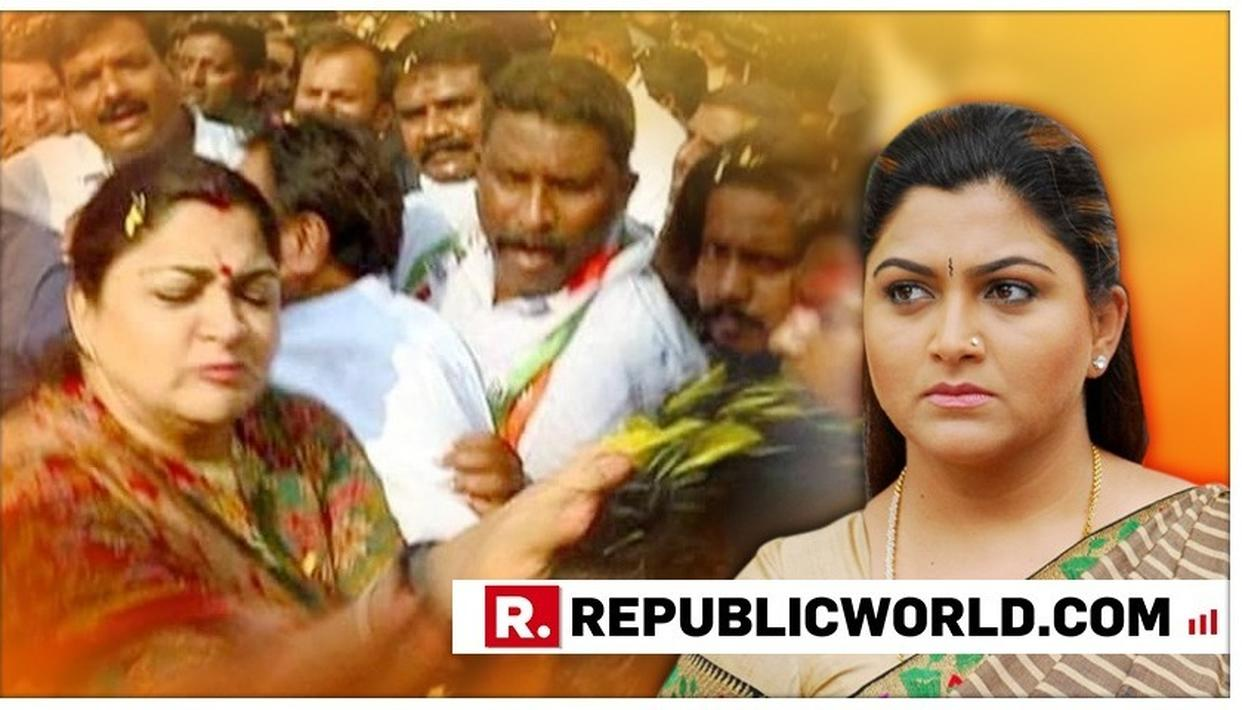 ACTRESS TURNED POLITICIAN KHUSHBU SUNDAR SLAPS A MAN FOR MISBEHAVING WITH HER AT A RALLY IN BENGALURU