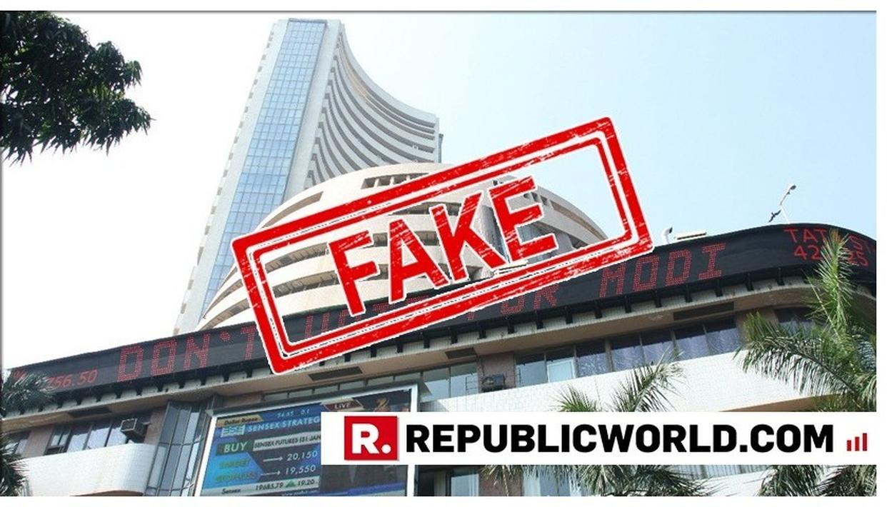 THE BOMBAY STOCK EXCHANGE ISSUES STATEMENT OVER PICTURE IN CIRCULATION CARRYING POLITICAL MESSAGE ON ITS BUILDING'S TICKER. READ HERE