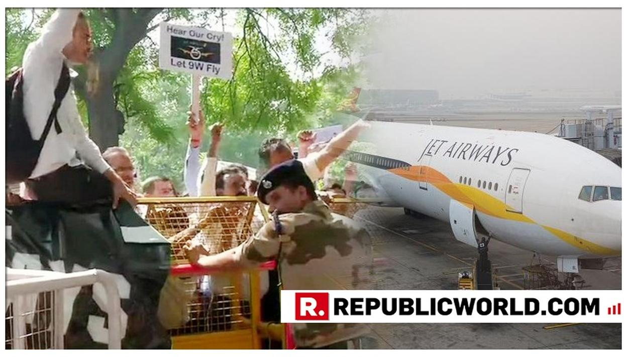 JET AIRWAYS' EMPLOYEES HOLD PROTEST OUTSIDE CIVIL AVIATION MINISTRY
