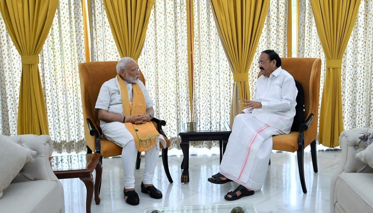 PM MODI CALLS ON VICE PRESIDENT VENKAIAH NAIDU, DISCUSSES A PLETHORA OF ISSUES OVER BREAKFAST