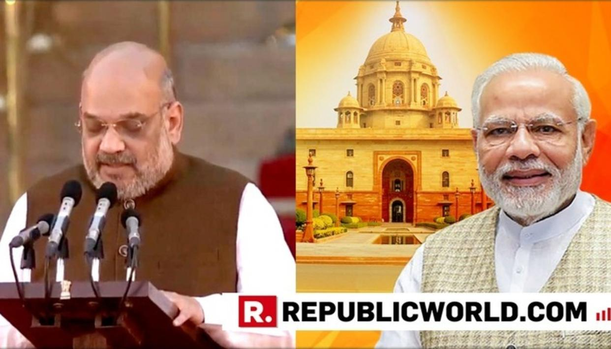 NEWLY-INDUCTED UNION MINISTER AMIT SHAH THANKS PM MODI FOR REPOSING FAITH IN HIM AS HE TAKES OATH INTO THE MODI CABINET 2.0