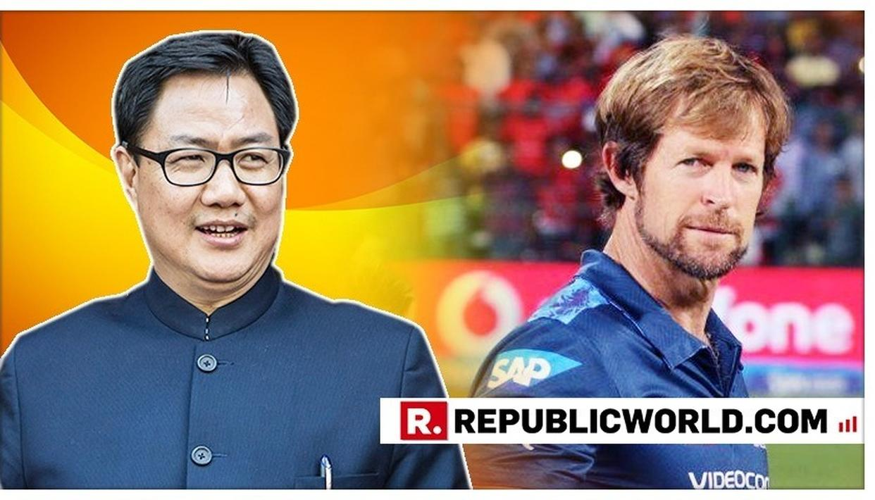 UNION MINISTER KIREN RIJIJU AND JONTY RHODES INDULGE IN A HEARTWARMING EXCHANGE ON THE BENEFITS OF SPORTS AS THE FORMER TAKES CHARGE OF HIS ROLE IN MODI CABINET 2.0