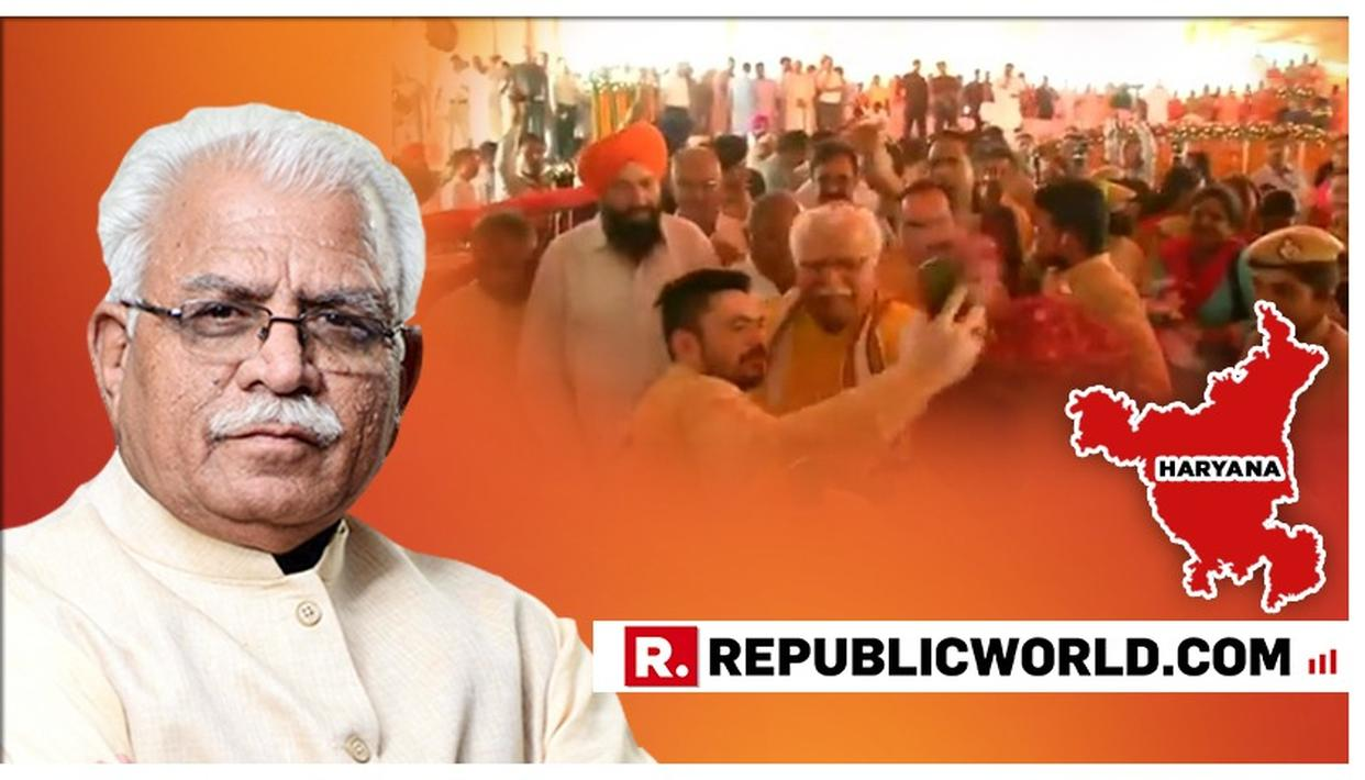 WATCH: HARYANA CM MANOHAR LAL KHATTAR PUSHES AWAY A MAN WISHING TO TAKE A SELFIE WITH HIM AT AN EVENT IN KARNAL