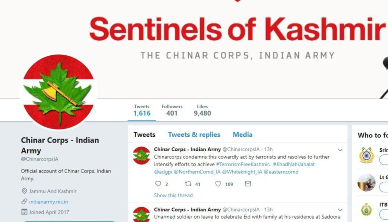 TWITTER SUSPENDS THE ACCOUNT OF INDIAN ARMY CHINAR CORPS, RESTORES IT A DAY AFTER