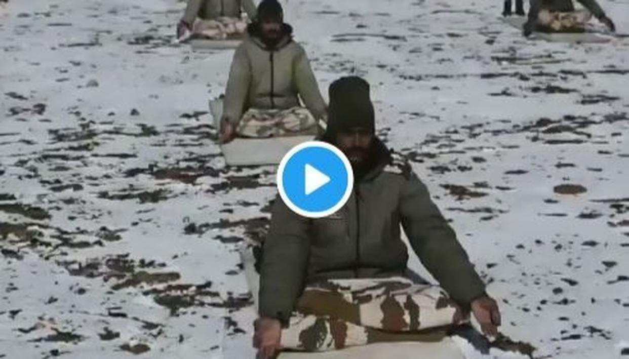 WATCH: HIMVEERS OF ITBP GEAR UP FOR YOGA DAY WITH UNFLINCHING PRACTICE DESPITE FROZEN TERRAIN
