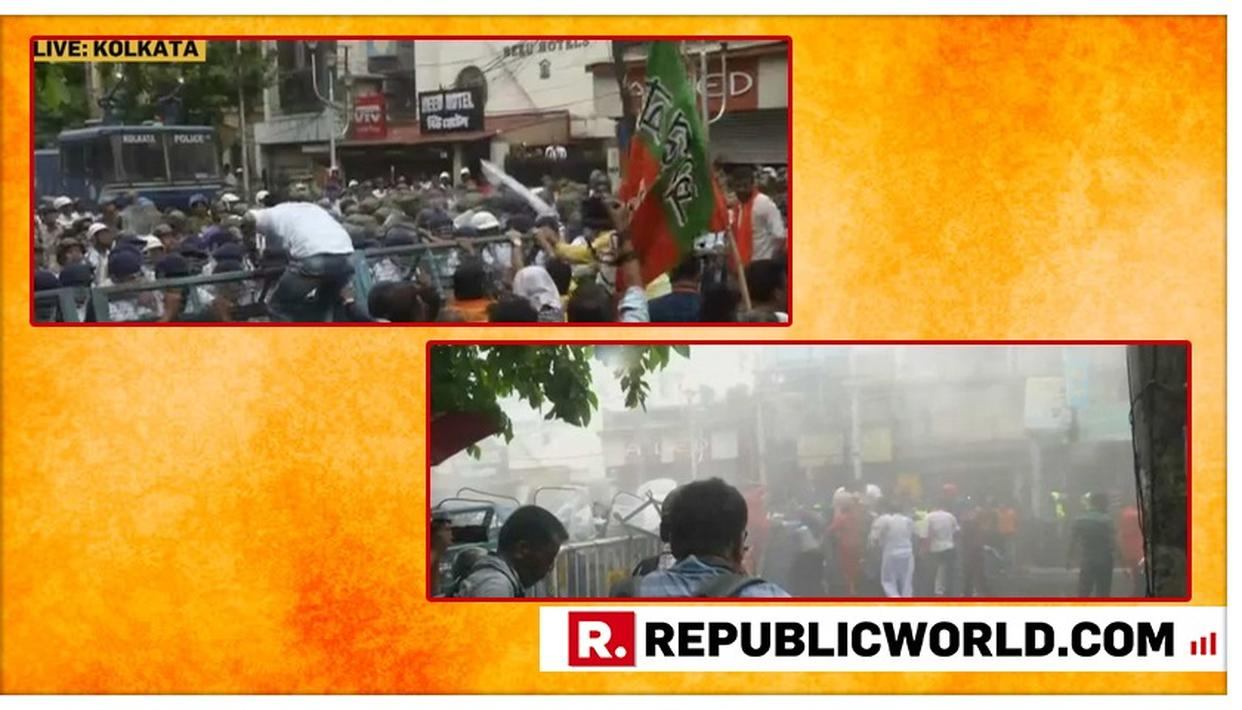 WATCH: DRAMATIC FACE-OFF IN KOLKATA AS MAMATA BANERJEE'S COPS RESORT TO WATER CANNONS TO DISPERSE BJP PROTESTERS