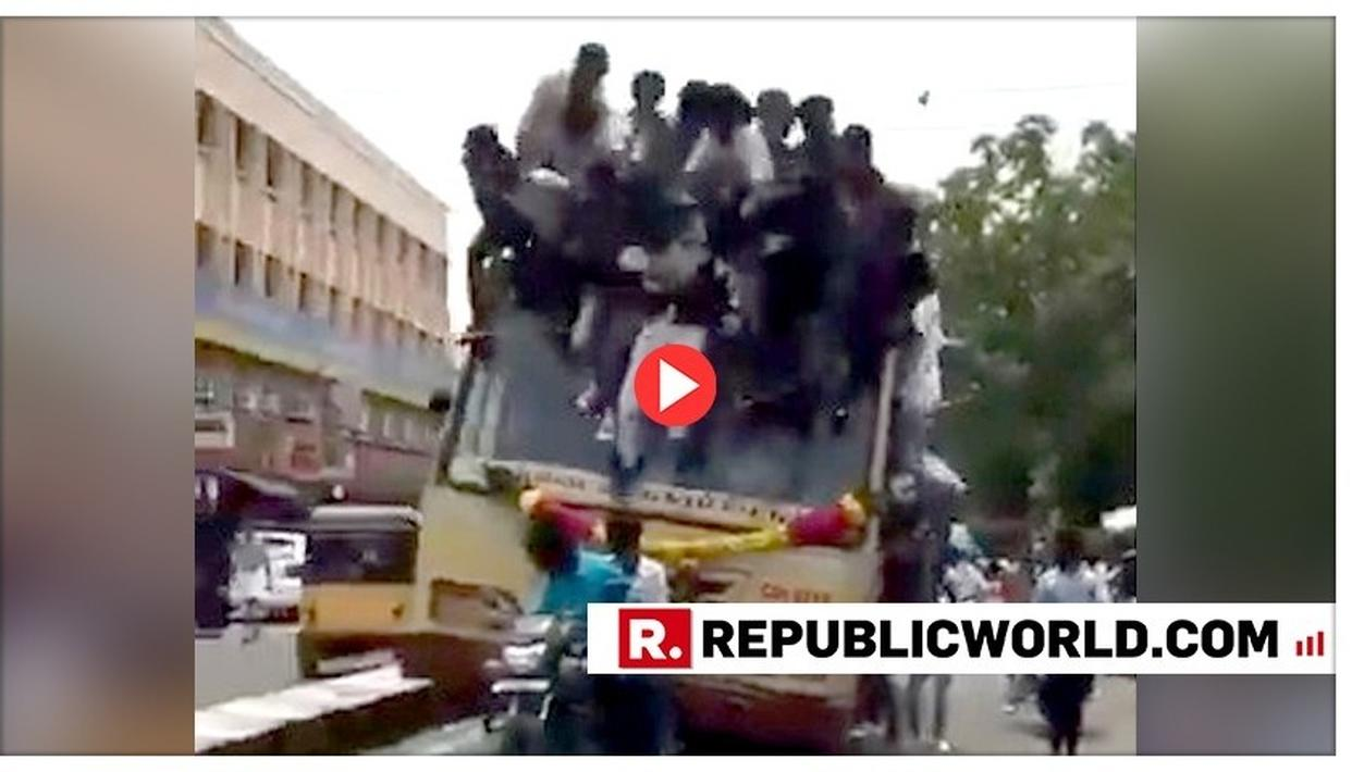 SHOCKING VIDEO: STUDENTS FALL OFF BUS AMID UNRULY 'BUS DAY' CELEBRATION IN CHENNAI