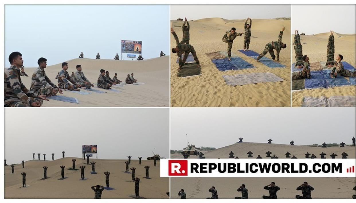 IN PICTURES | SEE BREATH-TAKING IMAGES OF SOLDIERS FROM BATTLE AXE DIVISION PERFORMING YOGA AND PRANAYAM ON VAST AND ENDLESS SAND DUNES OF JAISALMER