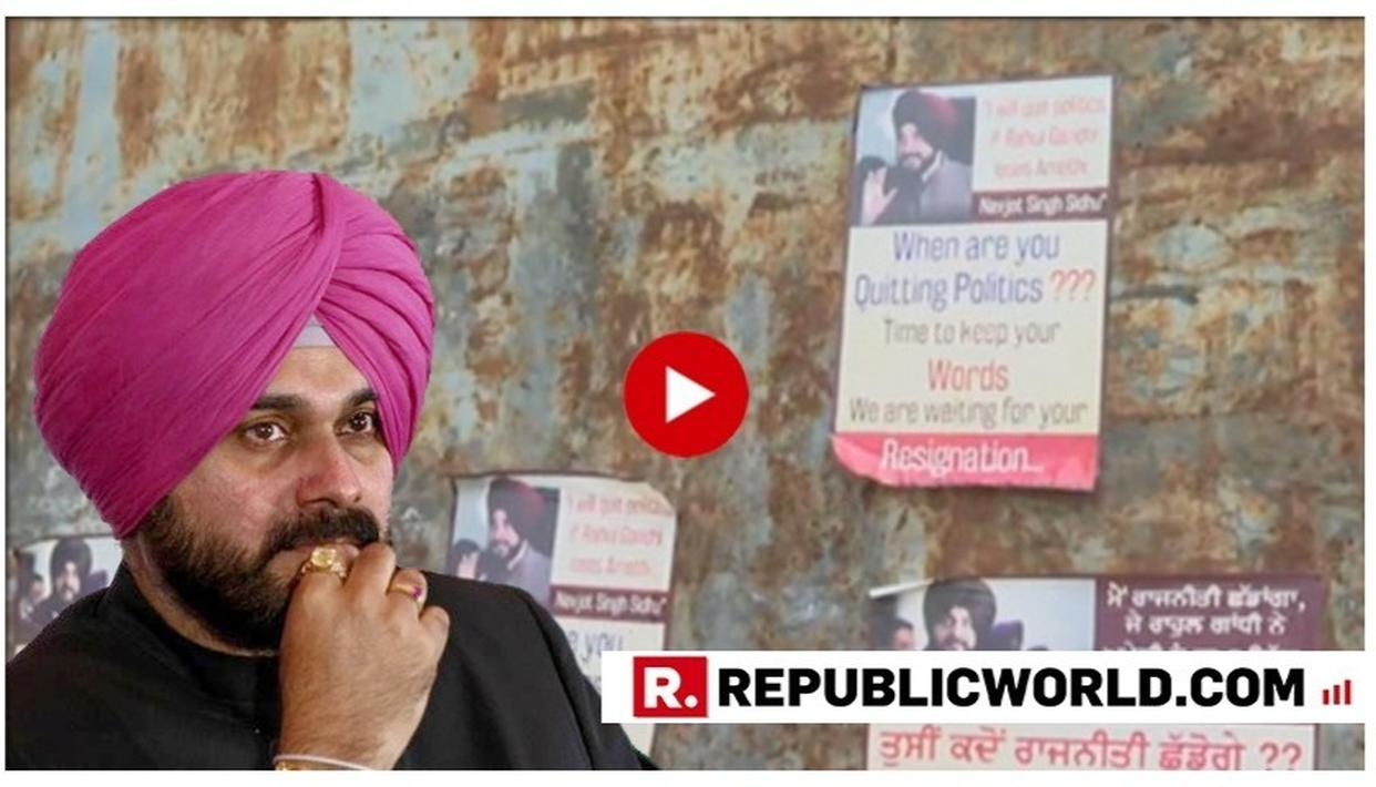 WATCH | 'WHEN ARE YOU QUITTING POLITICS?': POSTERS EMERGE IN PUNJAB ASKING NAVJOT SINGH SIDHU TO QUIT AFTER RAHUL GANDHI'S AMETHI LOSS