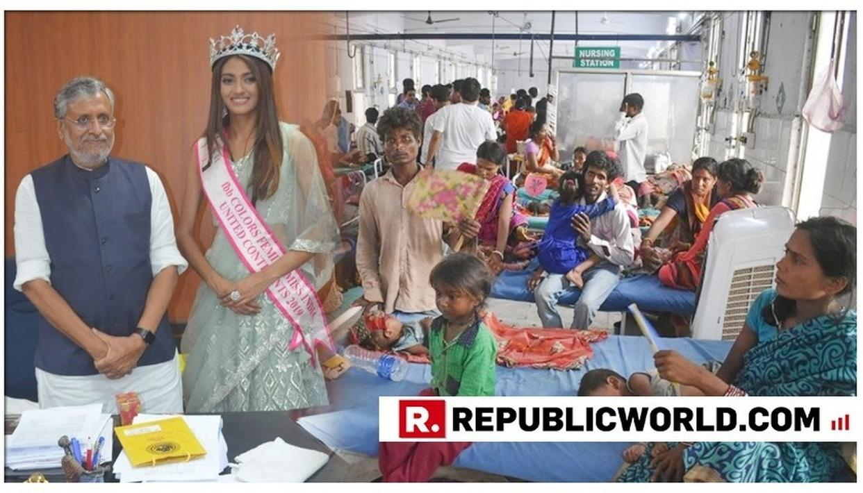 DY CM SUSHIL KUMAR MODI MEETS MISS INDIA 2019 SUMAN RAO, WHILE EVADES QUESTIONS ON BIHAR MEDICAL CRISIS AS DEATH TOLL CROSSES 200