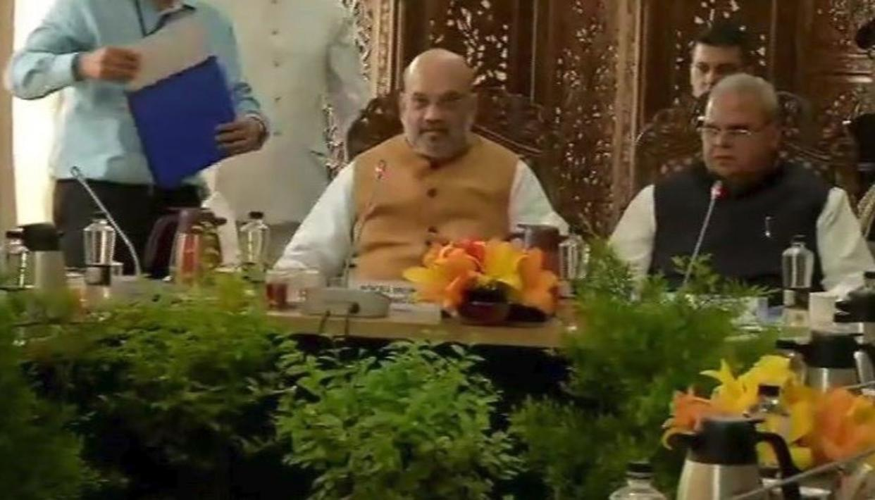 AMIT SHAH HOLDS HIGH-LEVEL SECURITY MEET DURING HIS TWO-DAY VISIT IN JAMMU AND KASHMIR