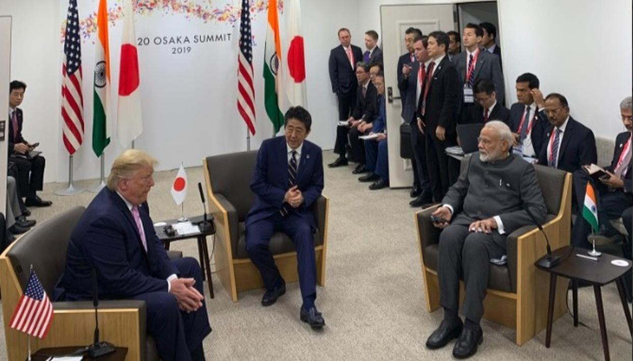 PM MODI HOLDS 'JAI' TRILATERAL MEET WITH US PRESIDENT DONALD TRUMP AND JAPAN PM SHINZŌ ABE ON THE SIDELINES OF G20 SUMMIT