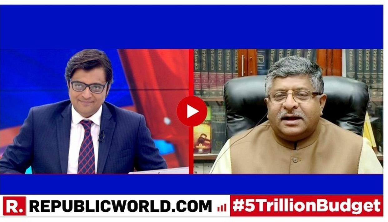 """DON'T IGNORE THE BIG PICTURE, WITH A MASSIVE MANDATE WE ARE TRYING TO ACHIEVE THE GOAL OF 5 TRILLION DOLLAR ECONOMY,"" SAYS RAVI SHANKAR PRASAD ON UNION BUDGET 2019"