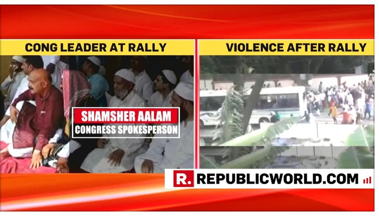SPOTTED: CONGRESS NETA AT RALLY PROTESTING JHARKHAND MOB LYNCHING IN WHICH STUDENTS' BUS WAS VANDALISED