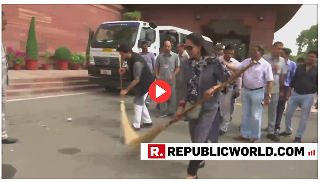 VIDEO OF HEMA MALINI SWEEPING PARLIAMENT PREMISES WITHOUT HER BROOM TOUCHING THE GROUND LEAVES NETIZENS IN SPLITS, THEY SAY, 'YOUR ACTING IN MOVIES WAS BETTER'