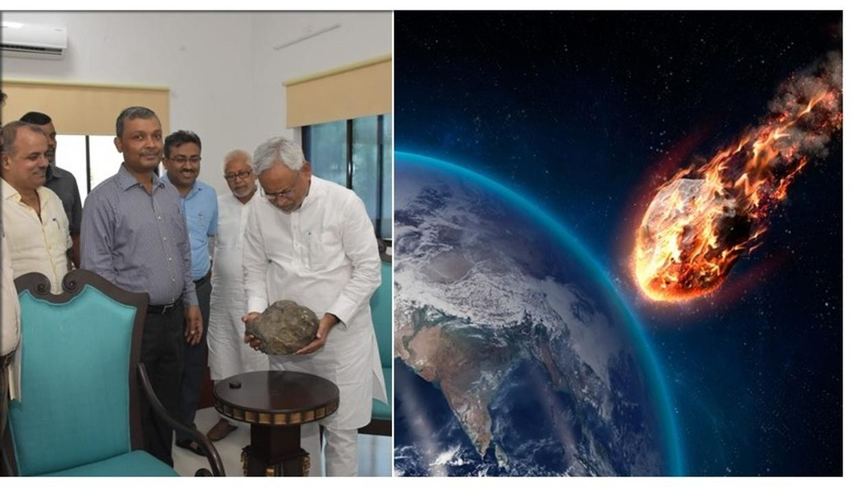 BIHAR METEORITE INTRIGUES CM NITISH KUMAR WITH MAGNETIC PROPERTIES AFTER LANDING FROM SPACE IN MADHUBANI