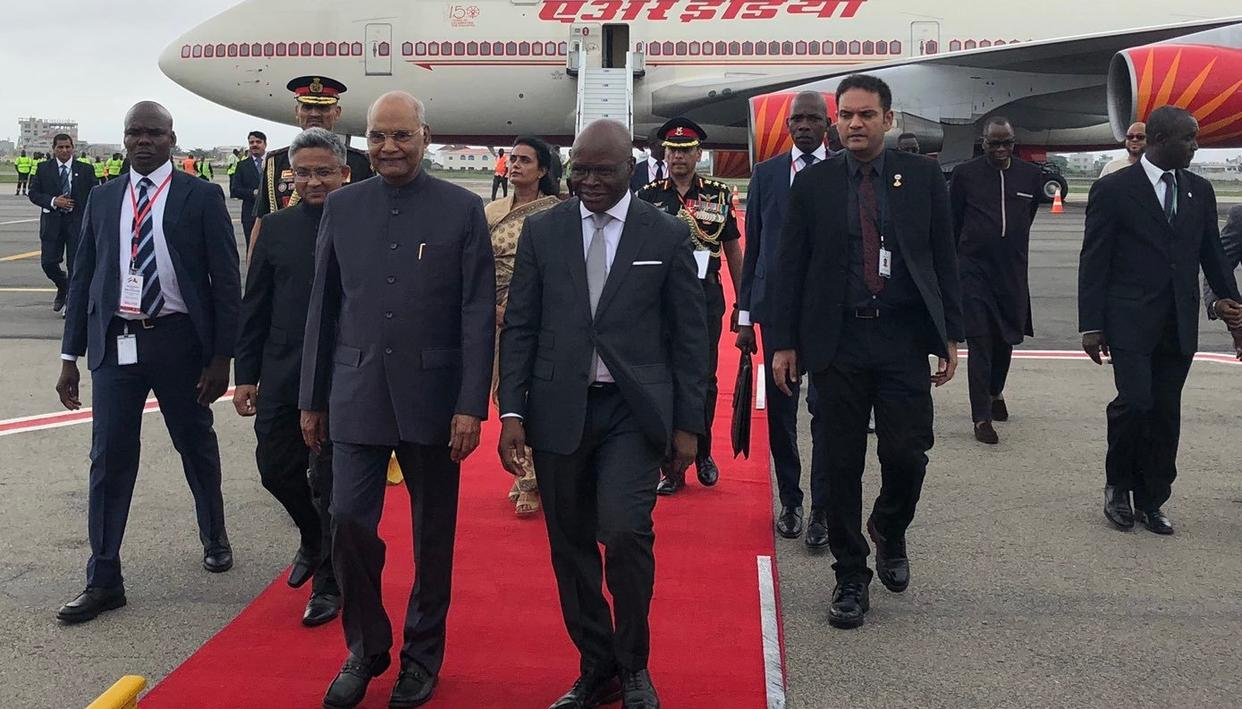 PRESIDENT KOVIND ARRIVES IN BENIN, FIRST VISIT BY AN INDIAN HEAD OF STATE