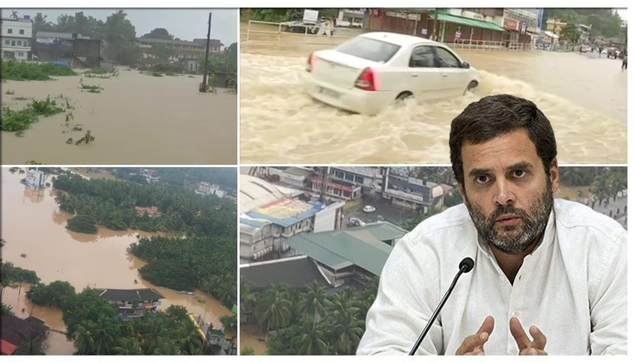 KERALA FLOODS: IN STRICKEN WAYANAD, RAHUL GANDHI APPEALS TO PEOPLE TO DONATE RELIEF MATERIAL