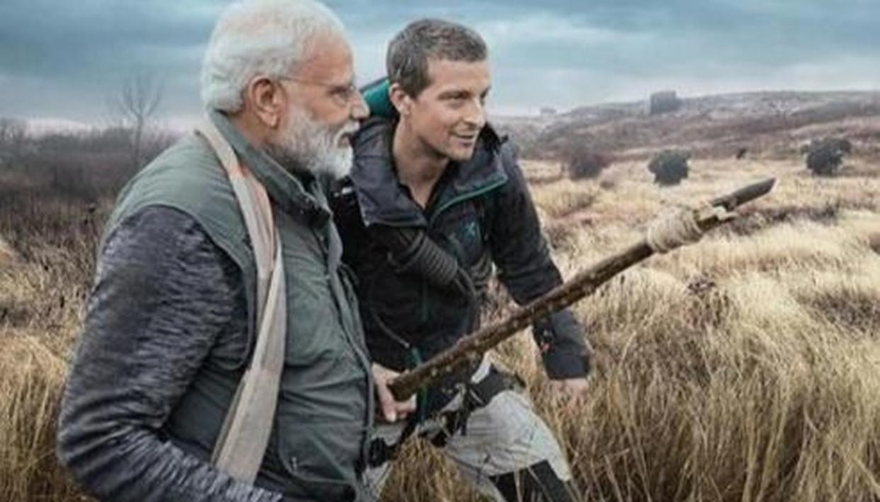 'MAN VS WILD': HERE'S WHAT THE PRIME MINISTER SAID WHEN BEAR GRYLLS HANDED HIM A WEAPON