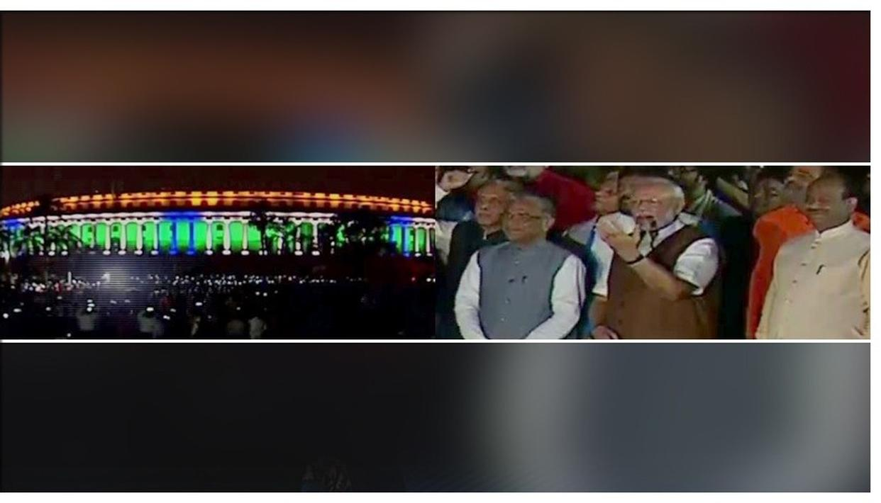WATCH: AHEAD OF INDEPENDENCE DAY, PM MODI UNVEILS DAZZLING LED LIGHTING AT PARLIAMENT; WILL BE A DAILY FEATURE