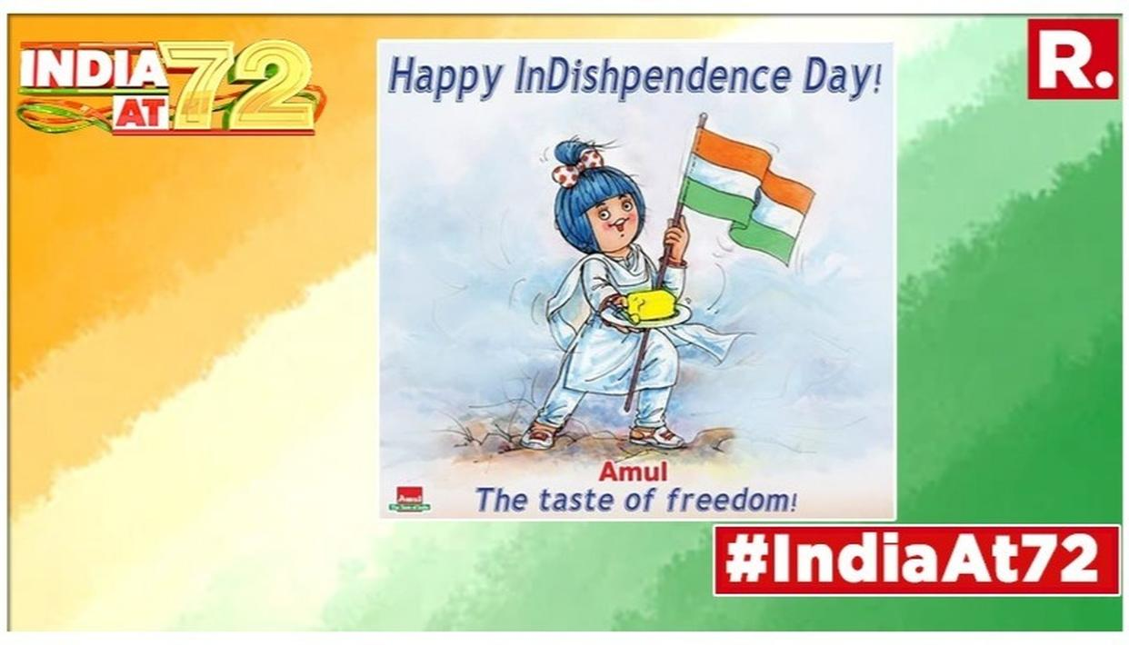 'HAPPY INDISHPENDENCE DAY!,' SAYS AMUL IN MUST-SEE TOPICAL ON INDIA'S 73RD INDEPENDENCE DAY