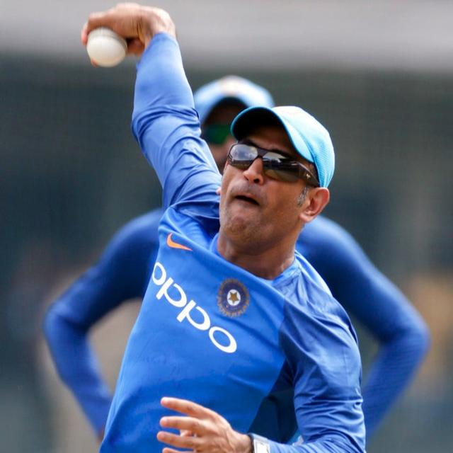 MS Dhoni bowls off-spin to Manish Pandey at the nets