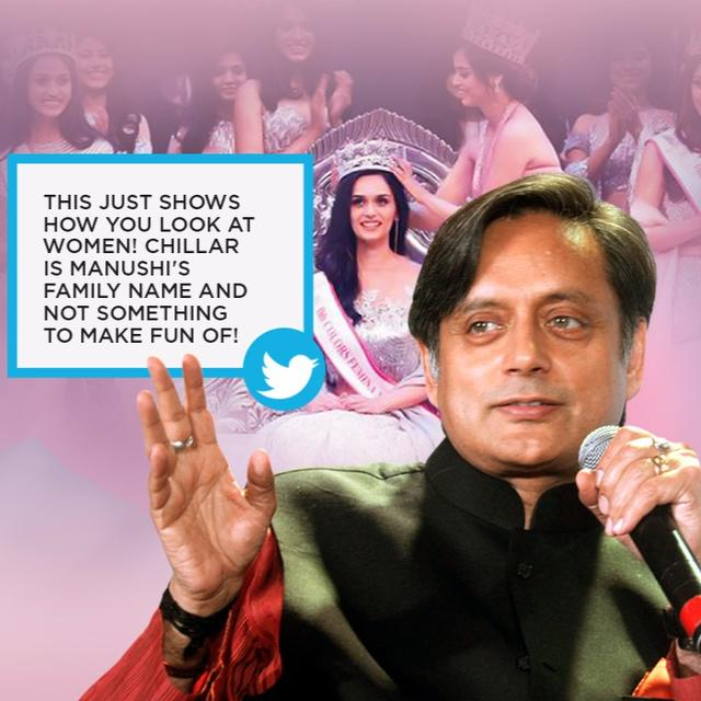 THAROOR INSULTS MISS WORLD; GETS SLAMMED!