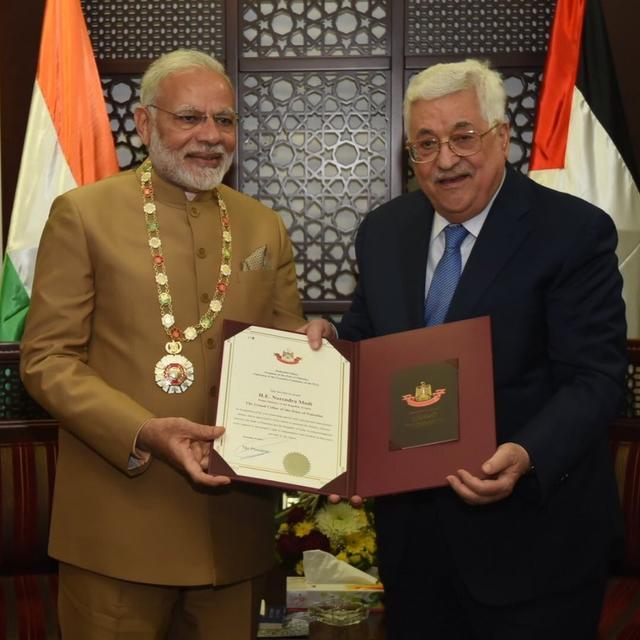 PM MODI PRESENTED HIGHEST ORDER IN PALESTINE