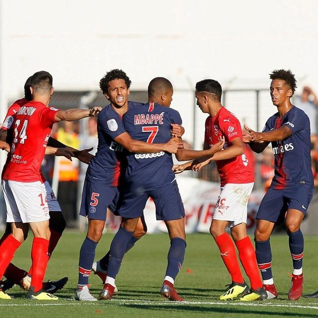 MBAPPE SHOWN RED IN PSG'S 4-2 WIN OVER NIMES
