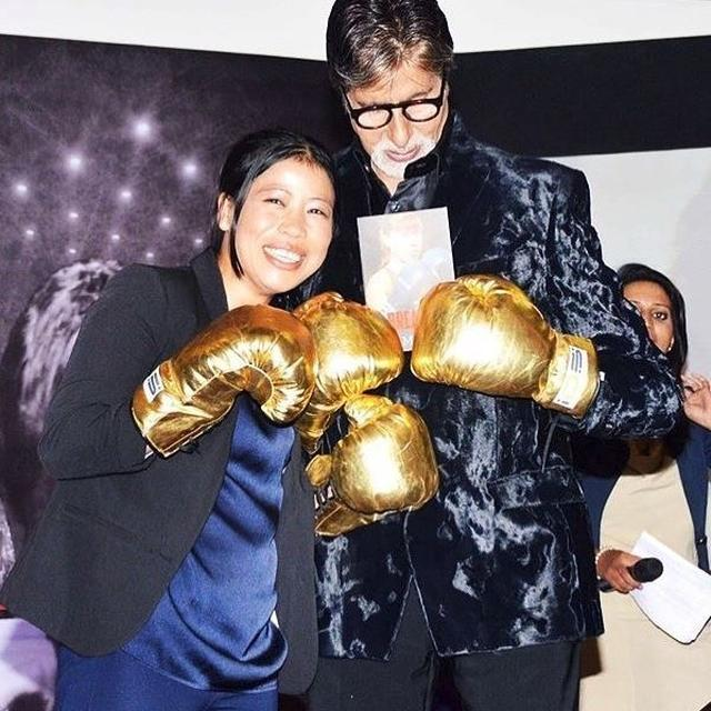 'THESE ARE MY GOLD MEDALS' SAYS AMITABH BACHCHAN ON GLOVES GIFTED BY BOXER MARY KOM