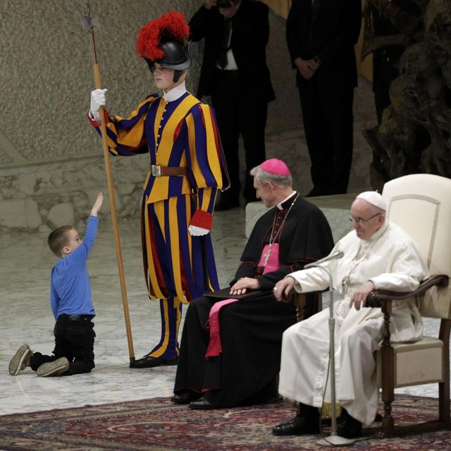 POPE CHARMED BY 6-YEAR-OLD BOY