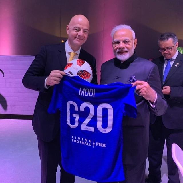 PM MODI GETS HOOKED ON TO FOOTBALL FEVER IN ARGENTINA