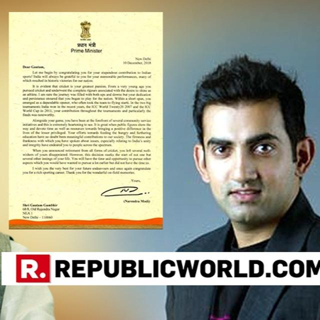 PM MODI LAUDS GAMBHIR FOR HIS CONTRIBUTION TO INDIAN CRICKET AND HIS WORK ON SOCIAL CAUSES
