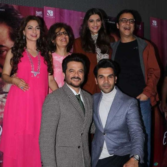 IN PICTURES:  ANIL KAPOOR CELEBRATES BIRTHDAY WITH 'EK LADKI KO DEKHA TO AISA LAGA' CO-STARS SONAM KAPOOR, JUHI CHAWLA, AND RAJKUMMAR RAO