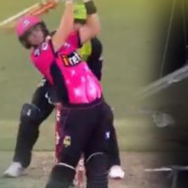 WATCH: AUSTRALIAN BATSMAN SMASHES THE ROOF WITH A MASSIVE SIX