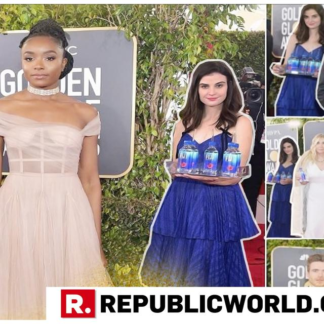'FIJI WATER GIRL' PHOTOBOMBS EVERY GOLDEN GLOBES RED CARPET PIC, BECOMES OVER-NIGHT SENSATION
