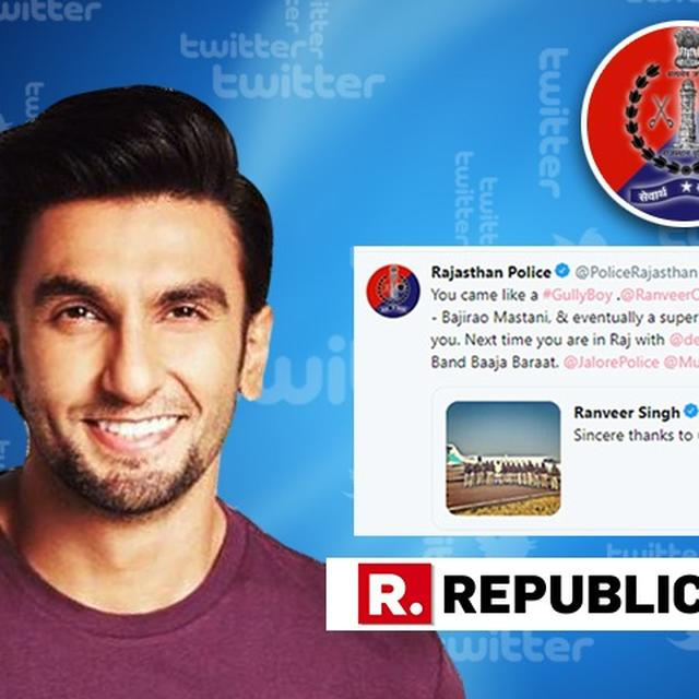 FROM 'GULLY BOY' TO 'BAND BAAJA BARAAT', RAJASTHAN POLICE'S FILMY RESPONSE TO RANVEER SINGH'S TWEET IS THE BEST THING YOU WILL SEE TODAY