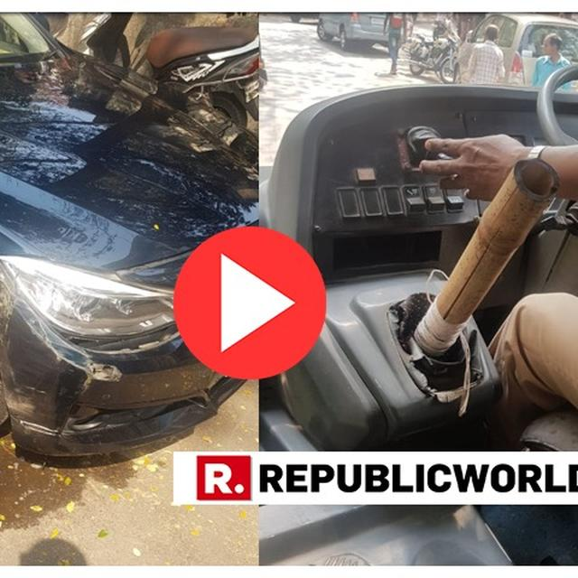 WATCH: PODAR SCHOOL'S BUS DRIVER USES BAMBOO AS GEAR STICK, CRASHES THE VEHICLE INTO A BMW IN MUMBAI'S KHAR