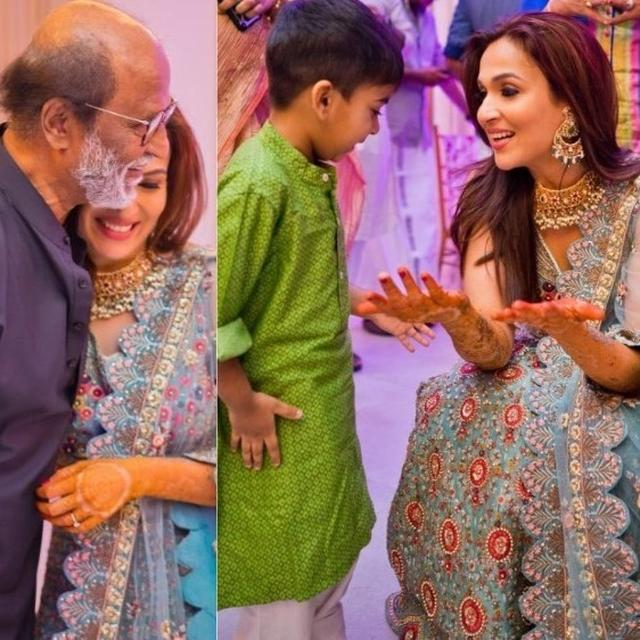 'THE THREE MOST IMPORTANT MEN IN MY LIFE': SOUNDARYA RAJINIKANTH SHARES HEARTWARMING PICTURES FROM HER MEHENDI CEREMONY; RAJINIKANTH GROOVES