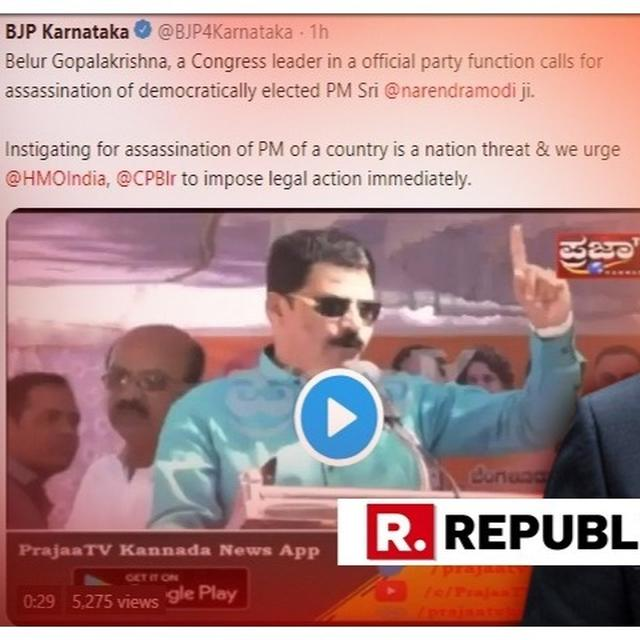 SHOCKING: BJP TWEETS VIDEO OF CONGRESS LEADER CAUGHT SAYING 'KILL MODI IF YOU HAVE GUTS', DEMANDS LEGAL ACTION