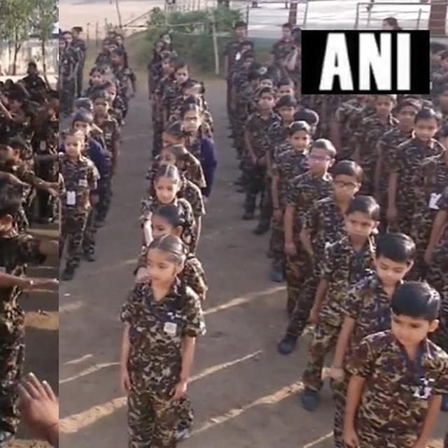 IN A SHOW OF PATRIOTISM, STUDENTS AT GUJARAT SCHOOL WEAR DRESS SIMILAR TO ARMY UNIFORM