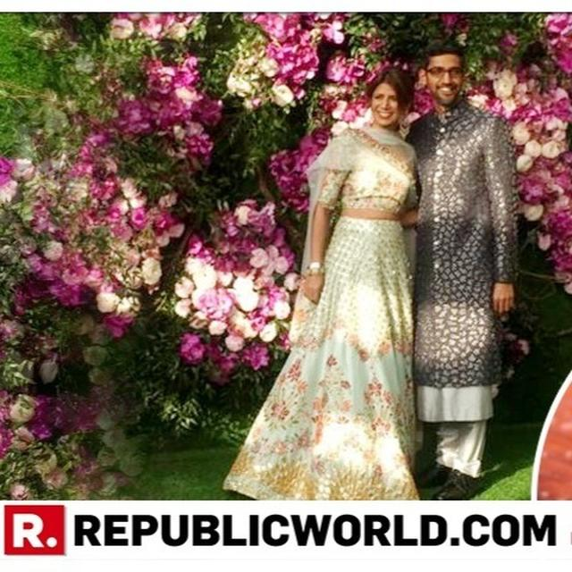 AKASH AMBANI-SHLOKA MEHTA WEDDING | GOOGLE CEO SUNDAR PICHAI AND HIS WIFE ANJALI JUST ARRIVED AT THE BIG WEDDING AND WE'RE ALL FEELING LUCKY